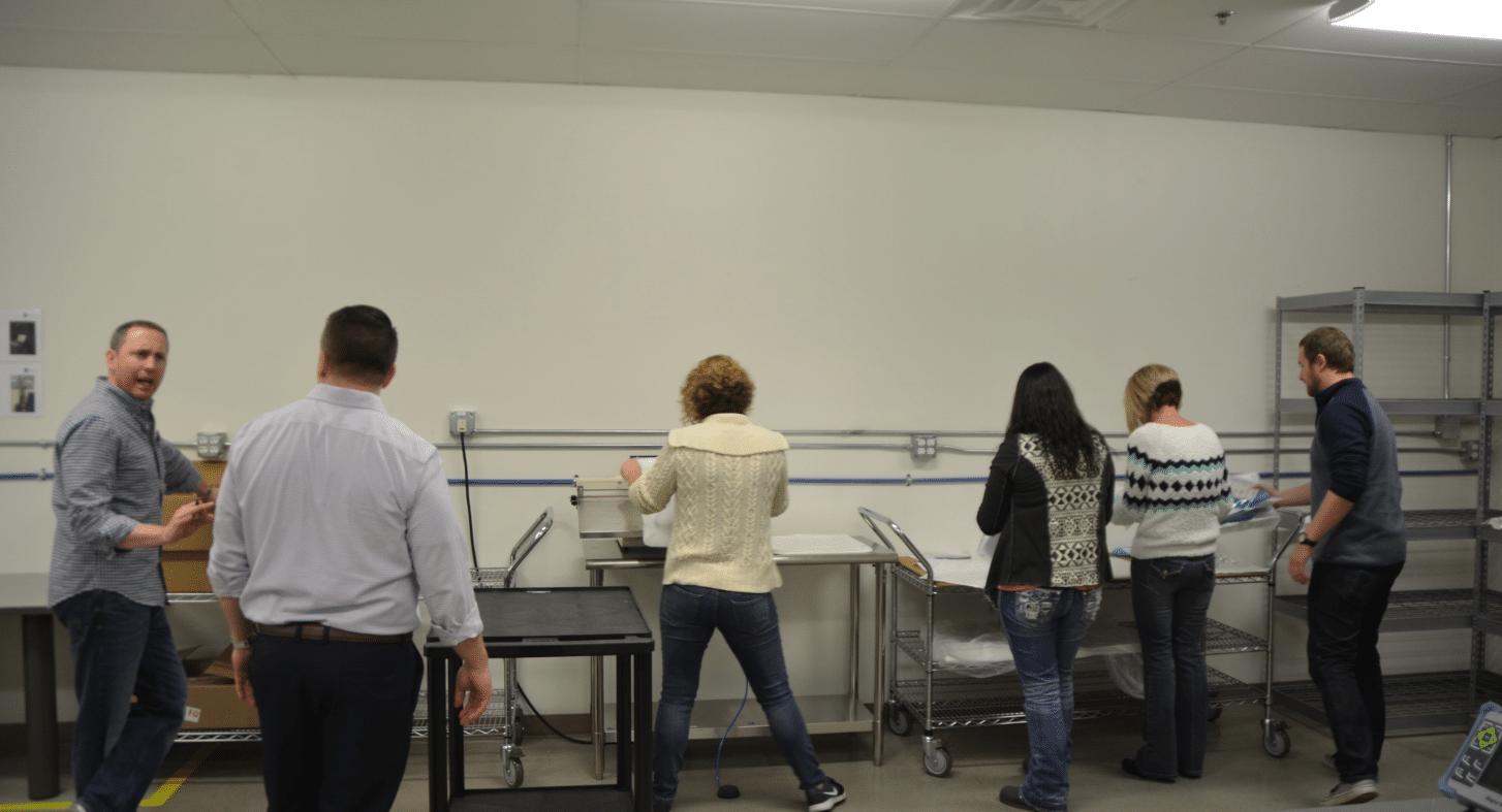 Techs conducting testing